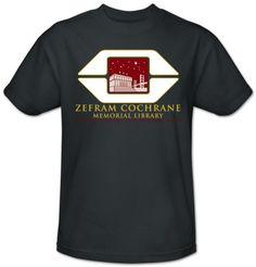 Zephram Cochrane Memorial Library - For the Trekkie in your life (Star Trek - Cochrane Library T-shirt at AllPosters.com)