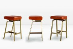 The GAVILAN BARSTOOL is supported by a solid brass base with walnut details. Options include a seat with a backrest as well as other finishes. Also available at counter height. Shown with leather seat.