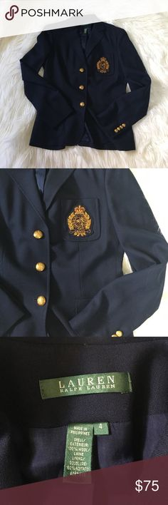 Lauren Ralph Lauren Blue Iconic Crest Blazer Excellent condition with no wear and tons of life left! 19 inches across chest 29 inches long. NO TRADES PLEASE Lauren Ralph Lauren Jackets & Coats Blazers
