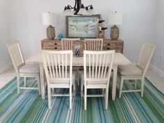 Paula Deen Dining table with a Driftwood Chest, coastal cottage feel. Designed by Andrea Z