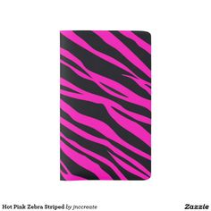 Hot Pink Zebra Striped Large Moleskine Notebook Cover With Notebook