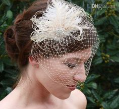 Wholesale Feathers Bridal Headpiece - Buy 2014 Empire Net Feathers Crystal Beaded Headpiece Head Veil Wedding Bridal Accessories, $35.0 | DHgate
