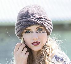Вязаная спицами шапка-чалма Wiliams Cloche. Описание на русском - Модели спицами для нас красивых - Мамины ручки