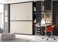 Kids Touch 76: Habitación con cama abatible, armario y escritorio.
