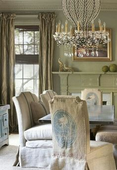 Feed sack chairs at the end of the table. The side chairs have grain sack!! Love