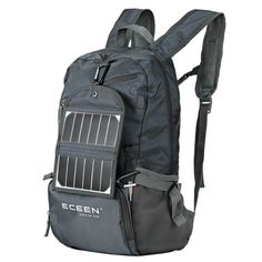 ECEEN Solar Powered Hiking Daypacks with 3.25 Watts Solar Charger for Hiking, Travel, Backpacking, Biking, Camping - Folds Up into Carry Pouch - Power for Smart Cell Phones and More (Grey)