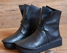 Handmade Black Women Leather Boots,Oxford Retro Women Shoes, Flat Soft Shoes,Fall Boots,Personal Style Boots, Ankle Boots, Booties