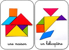 The best way to teach your children the concept of geometric shapes is to use simple tangram templates prepared for children. Thanks to these templates, children will have no difficulty in learning the logic of the game and will easily grasp it. Preschool Math, Kindergarten Math, Teaching Math, Math Games, Preschool Activities, Grande Section, Cycle 2, Ms Gs, Pattern Blocks
