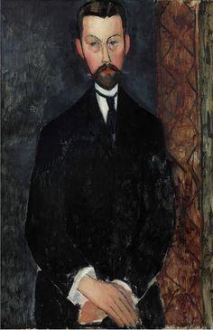 Painting by Amedeo Modigliani, ca 1911,  Portrait de Paul Alexandre.