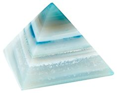 Stone Paperweight, Agate Pyramid, Teal $39