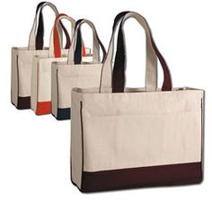 WHOLESALE PRICES Cotton Canvas Tote Bag with Inside Zipper Pocket