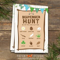 Scavenger Hunt Camp Theme DIY Printable Blue by PaperFoxDesign, $6.50