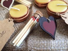 Wedding bonbonniere / favour / favour. Little glass test tube with cork stopper, matches and heart shaped striker paper.