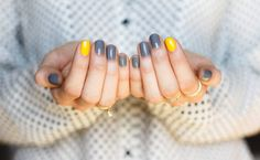Grey and Yellow Nails-1