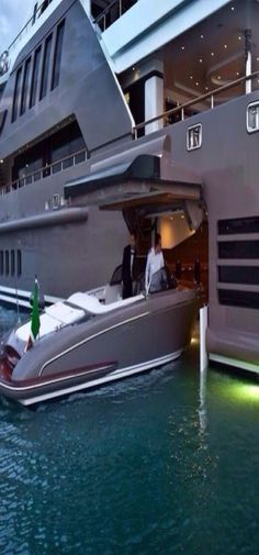 A millionaire must always have a garage on their yacht for their smaller speed boat