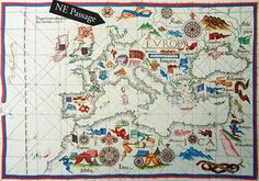 Diogo Homan - 1550's map showing the search for the North West  Passage discovered by Richard Chancellor, 1553