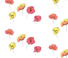Poppies fabric by bycate on Spoonflower - custom fabric