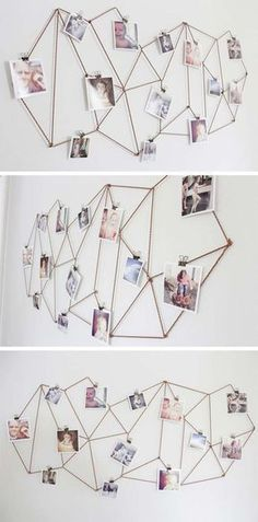 DIY Dorm Room Decor Ideas - Geometric Photo Display - Cheap DIY Dorm Decor Projects for College Rooms - Cool Crafts, Wall Art, Easy Organization for Girls - Fun DYI Tutorials for Teens and College Students http://diyprojectsforteens.com/diy-dorm-room-decor #artsandcrafts