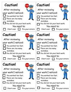 Do you have a problem with your students speeding through their work? Attach this form to their work when it is sloppy or full of careless mistakes. This will make students think about taking pride in their work and trying their best! Classroom Economy, Classroom Helpers, Classroom Behavior Management, Classroom Setup, School Classroom, Classroom Organization, Class Management, Future Classroom, Beginning Of School