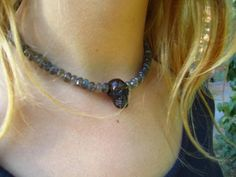 P H O E N I X M O O N // S H O P - Labradorite necklace with smoky quartz skull
