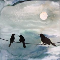 Talk is Cheep  Alcohol Ink on ceramic tile  By Jewel Buhay