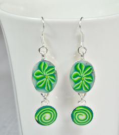 Forest Green polymer clay silver plated  drop by NuritNaor on Etsy, $17.00