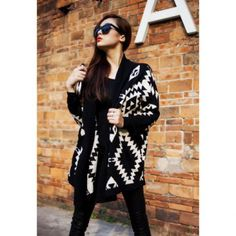 Modern Style Abstract Pattern Batwing Sleeve Knit Women's Cardigan, BLACK, ONE SIZE in Sweaters & Cardigans | DressLily.com