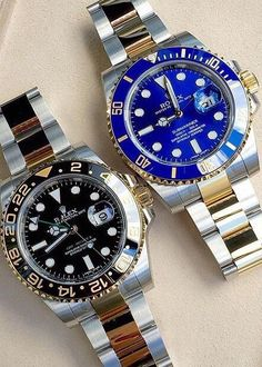 Two toned yellow gold Rolex's Submariner vs GMT Gents Watches, Stylish Watches, Luxury Watches For Men, Cool Watches, Rolex Watches, Gold Rolex, Watches Photography, Hand Watch, Rolex Submariner