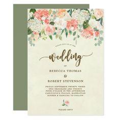 modern boho peach floral wedding invitation - floral style flower flowers stylish diy personalize