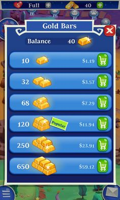 Bubble Witch 2 by King - Purchase Gold IAP Store - Match 3 Game - iOS Game - Android Game - UI - Game Interface - Game HUD - Game Art