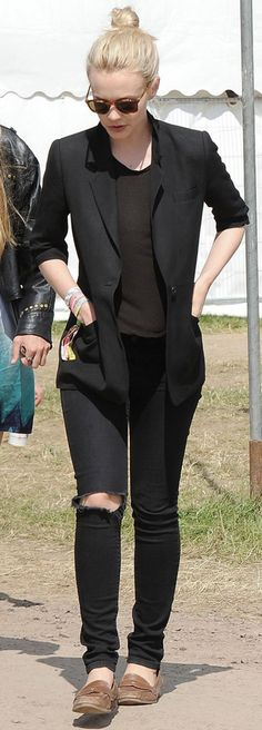 carey mulligan in our textile elizabeth and james debbie jeans in destructed midnight.