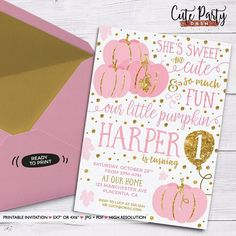 Little Pumpkin Birthday Invitation Thanksgiving Birthday