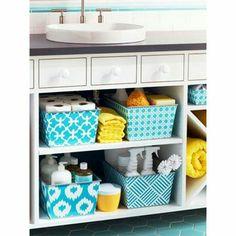 Under sink storage -- color baskets