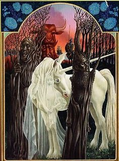 """illustrations by leo and diane dillon from """"the last unicorn""""."""