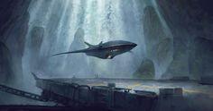 Futuristic aircraft, Jesper Ullbing on ArtStation at https://www.artstation.com/artwork/l6x35