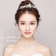 Generic Korean_ Crown tiara _three-piece_bridal_ wedding _friezes_ pearl _water_drill trim_dress_accessories_Korean_Keyboard hair Ornaments -- Learn more by visiting the image link. Korean Wedding Makeup, Wedding Hair And Makeup, Bridal Makeup, Hair Makeup, Bridal Hair Up, Bridal Updo, Bridal Tiara, Best Wedding Hairstyles, Bride Hairstyles