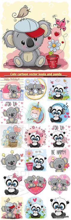 Cute cartoon vector koala and panda with flowers
