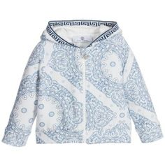 Young Versace - Baby Boys Blue Cotton 'Maioliche' Zip Up Top | Childrensalon