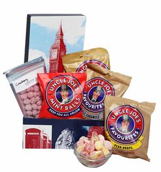Big Ben Candy Box- Collection of confectionery treats imported from England. From Toffee Works, in Wigan, England, Uncle Joe's original Mint Balls and three other flavors of hard candy or caramels.