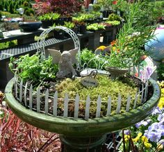 """Miniature Fairy Garden Kit Includes:  Fairy Figurine  7"""" Wire Arbor  48"""" Roll Fencing  Wire Bench  Birdbath  Watering Can  Welcome Sign"""