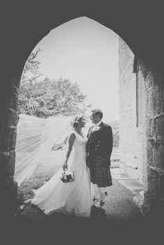 Kath & Matt's Wedding, photo by: photobailey beautiful light black and white wedding photo phtoography Cornwall wedding cornish tartan kilt st columb major long veil