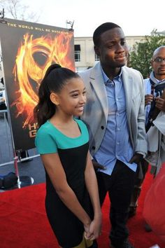 Amandla Stenberg and Dayo Okeniyi at The Hunger Games mall tour fan event in Atlanta