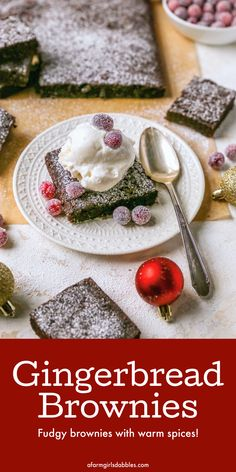 Gingerbread Brownies are moist and fudgy, with a touch of molasses and warm spices. A fun Christmas twist on a traditional brownie recipe! #brownies #spiced #gingerbread #Christmas #holiday Christmas Party Food, Christmas Cooking, Christmas Holiday, Christmas Recipes, Christmas Crafts, Pudding Recipes, Brownie Recipes, Cheesecake Recipes, Best Dessert Recipes