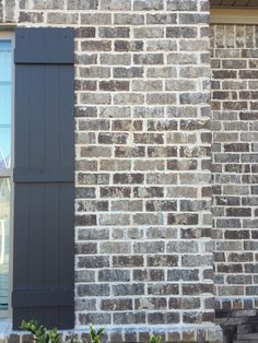 Pine Hall Brick - Marshton Queen Brick With Ivory Mortar along with dark brown wood shutters