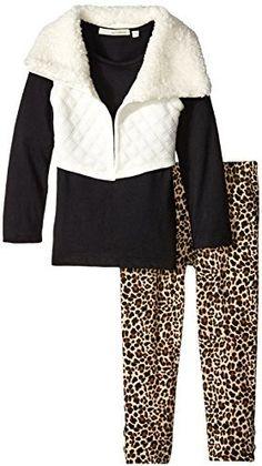 Self Esteem Little Girls' Quilted FT Vest with Fur Collar Jersey Tunic Leg Set