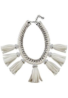 Lucinda Silver Fringe Necklace Fringe Necklace, Winter White, Mirror, Silver, Money, Silver Hair