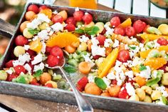 """Katie Quinn Davies says """"This retro salad contrasts the fresh burst of summer melon with the lovely creaminess of goat's cheese and avocado."""""""