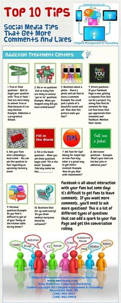 Top 10 Tips that get more comments and likes #infografia #infographic #socialmedia
