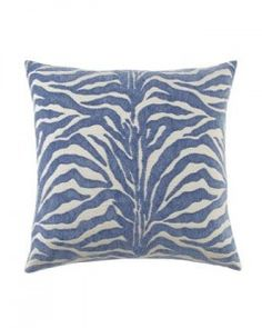 Zebra Azul pillow in cornflower from Neiman Marcus- Decorating with Shades of indigo. {The Creativity Exchange} Curtain Rings With Clips, Tudor House, City Wallpaper, Pillow Reviews, New Room, Farmhouse Decor, Indigo, Furniture Design, Blue And White