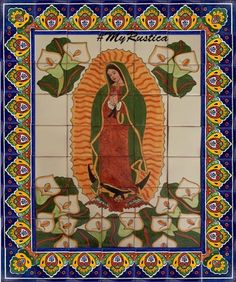 """Kitchen Tile Mural """"Virgin of Guadalupe with Calla Lilies"""" Kitchen Countertop Materials, Kitchen Cabinetry, Kitchen Countertops, Kitchen Backsplash, Laminate Colours, How To Install Countertops, Clay Tiles, Best Kitchen Designs, Tile Murals"""